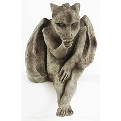 Sitting Gargoyle Concrete Home and Garden Statues Cement Igor French Sculpture European Cast Stone Figure All Weather Statuary Garden Statue Art : Garden & Outdoor