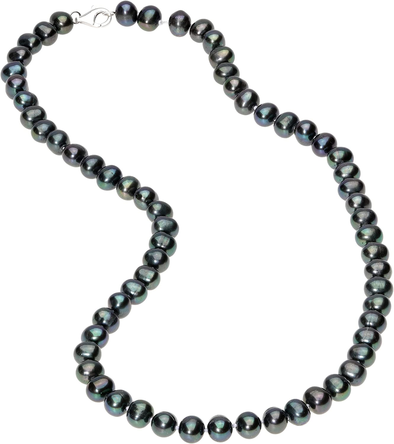 """8//10mm Dark Blue Sea Shell Pearl necklaceS chain earring 18/"""""""