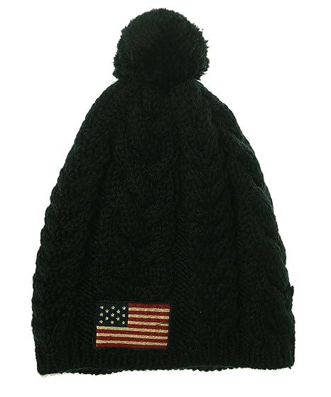 477a28e69da2c5 Polo Ralph Lauren Mens Cable Knit Pom Pom Beanie Hat - Black -: Amazon.co.uk:  Clothing