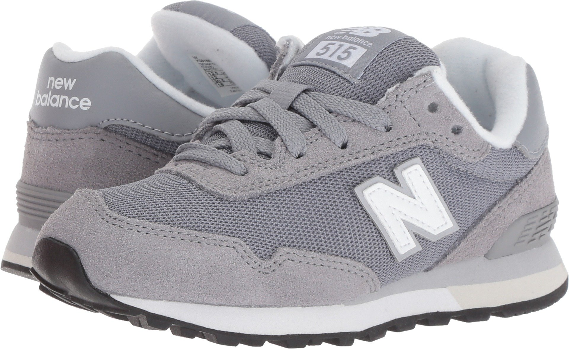 New Balance Boys' 515v1 Evergreen Sneaker, Grey/White, 3.5 W US Big Kid