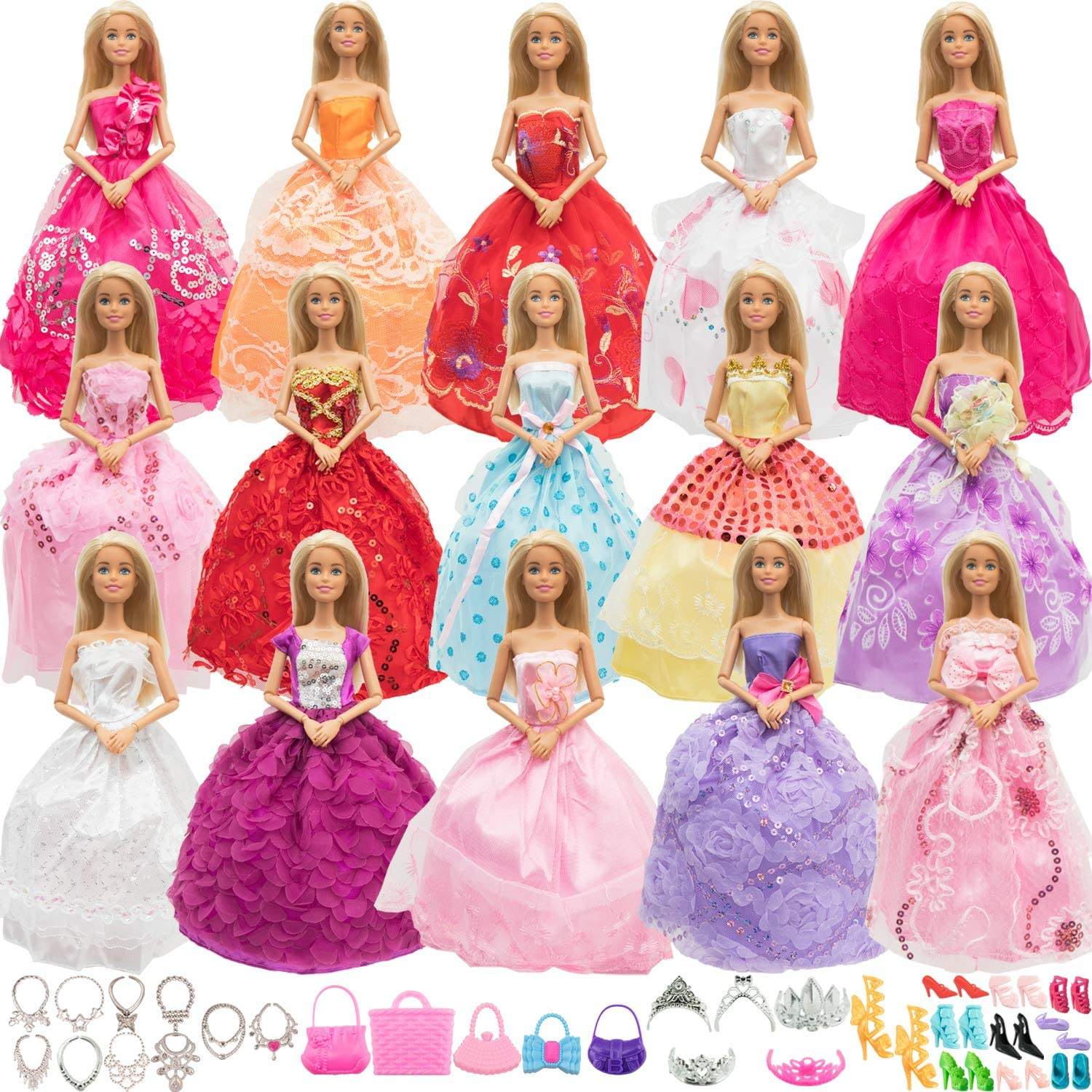 SOTOGO 55 Pieces Doll Clothes and Accessories for 11.5 Inch Girl Doll Include 15 Sets Fashion Handmade Doll Dresses Wedding Dresses Evening Dresses Party Gowns Outfit and 40 Pieces Doll Accessories