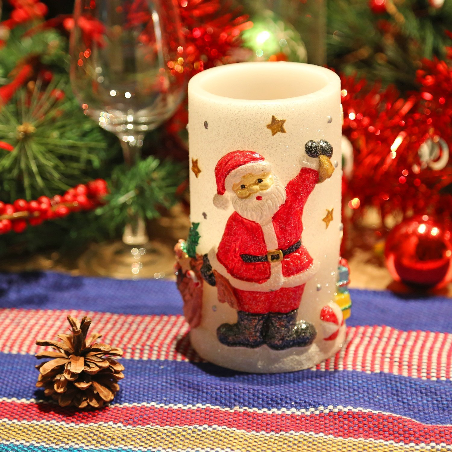 Snowman Flameless LED Candle Lights with Timer, 3X6 inches for Christmas Home Decor DFL AM14X007