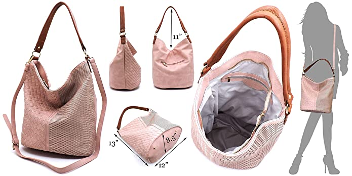 fa5067a84821 Vegan Faux Leather Woven and Perforated Shoulder Hobo Bags With ...