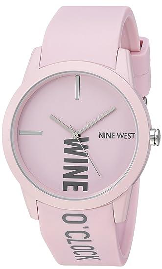 34edfa8e1 Nine West Reloj de pulsera de goma para mujer, Rosado: Amazon.com.mx ...