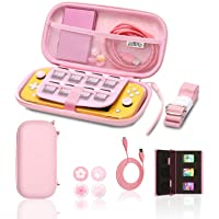 Switch lite Pink Accessories, Pink Carry Case with Coral Case for Switch lite, Pink Game Case Storage, Coral USB C Cord…