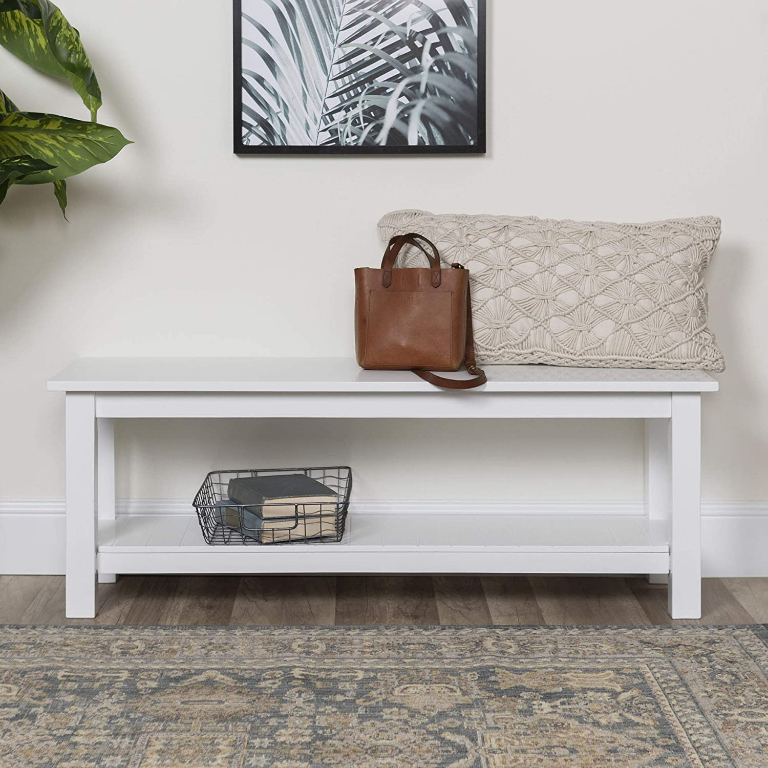 Walker Edison Furniture Company Farmhouse Wood Entryway Dining Bench 50 Inch White Renewed