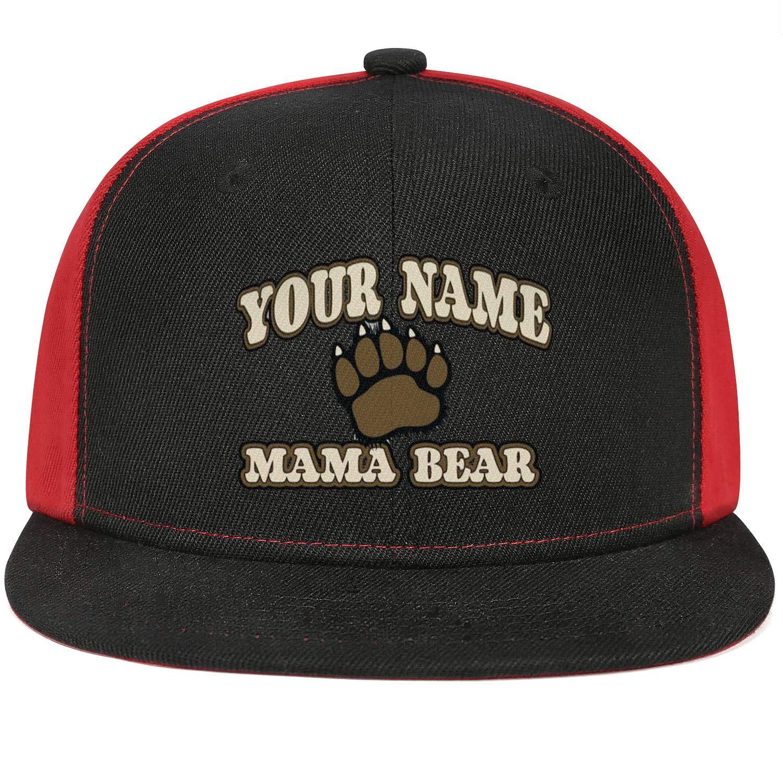 Mens Women Mesh Trucker Caps Put Moms Name on a Mama-Bear Great Snapback Flat Hat