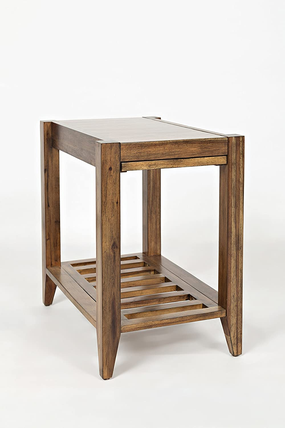 Benzara BM183827 Wooden Side Table with Slated Bottom Shelf Brown
