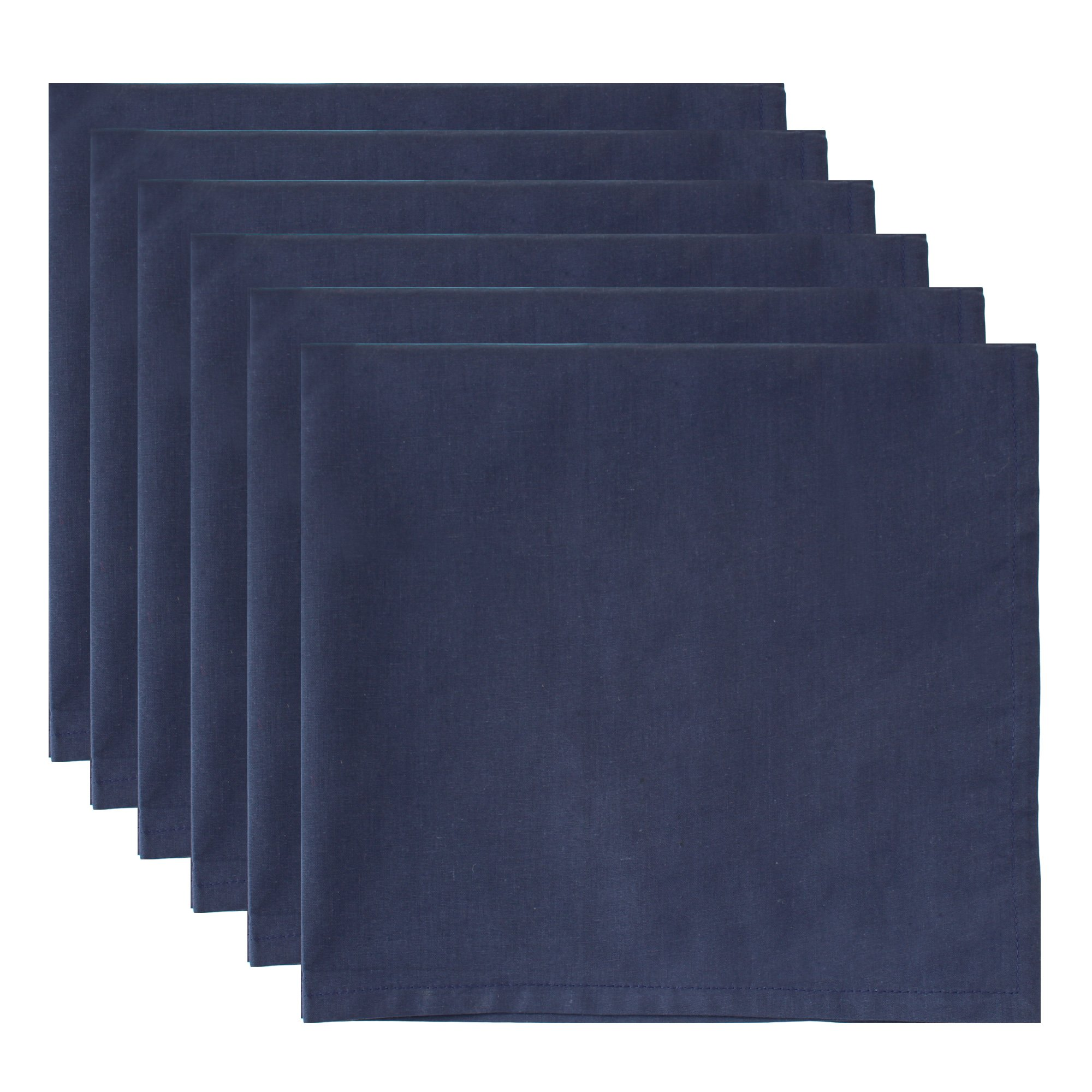ITOS365 100% Cotton, Oversized Basic Everyday 21'' x 21'' Napkin, Set of 6, Navy Blue by ITOS365