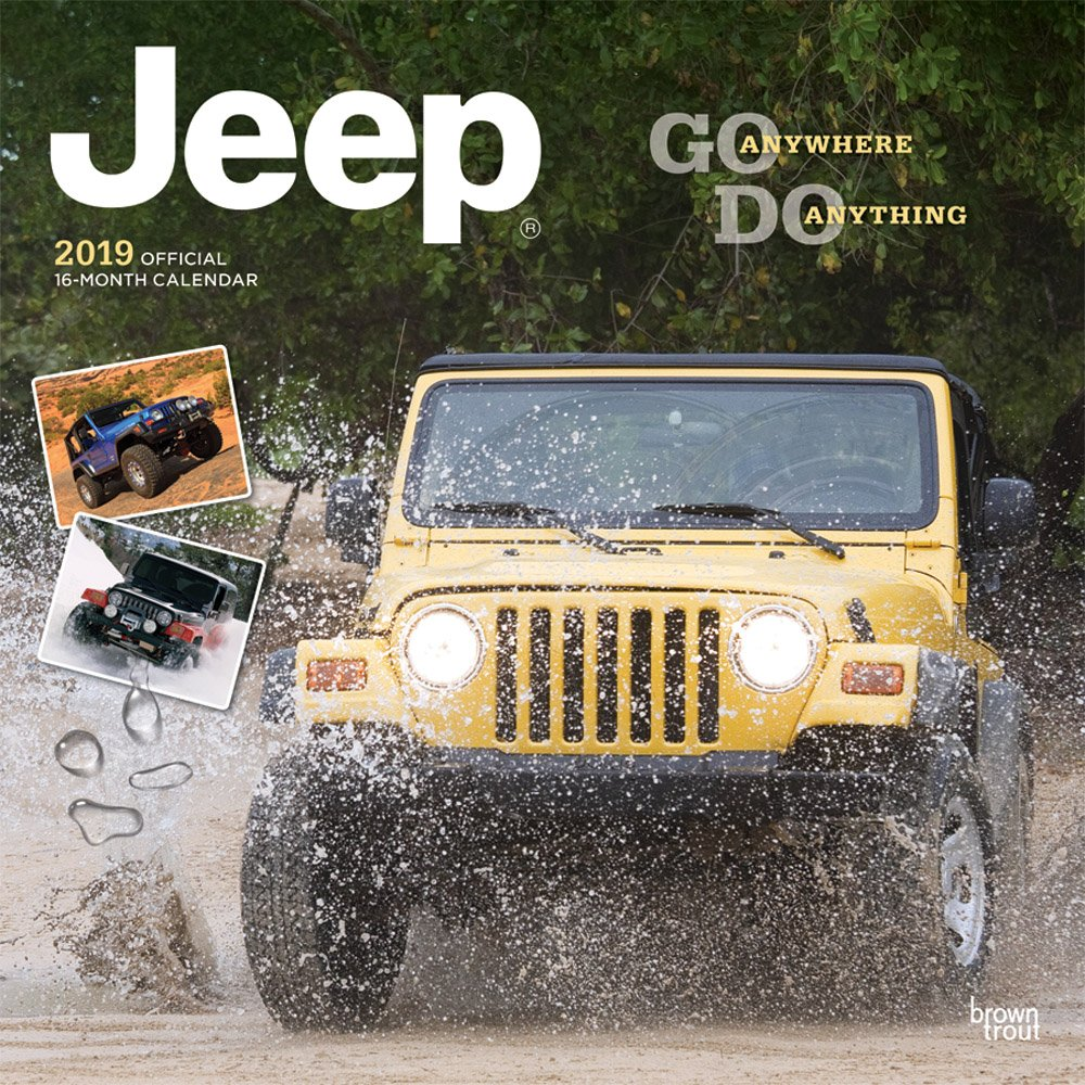 Jeep 2019 12 x 12 Inch Monthly Square Wall Calendar, Offroad Motor Car by BrownTrout Publishers