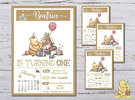 10 Personalised Winnie The Pooh Kids Boy Girl 1st Birthday Party Invitations Invites Amazoncouk Kitchen Home