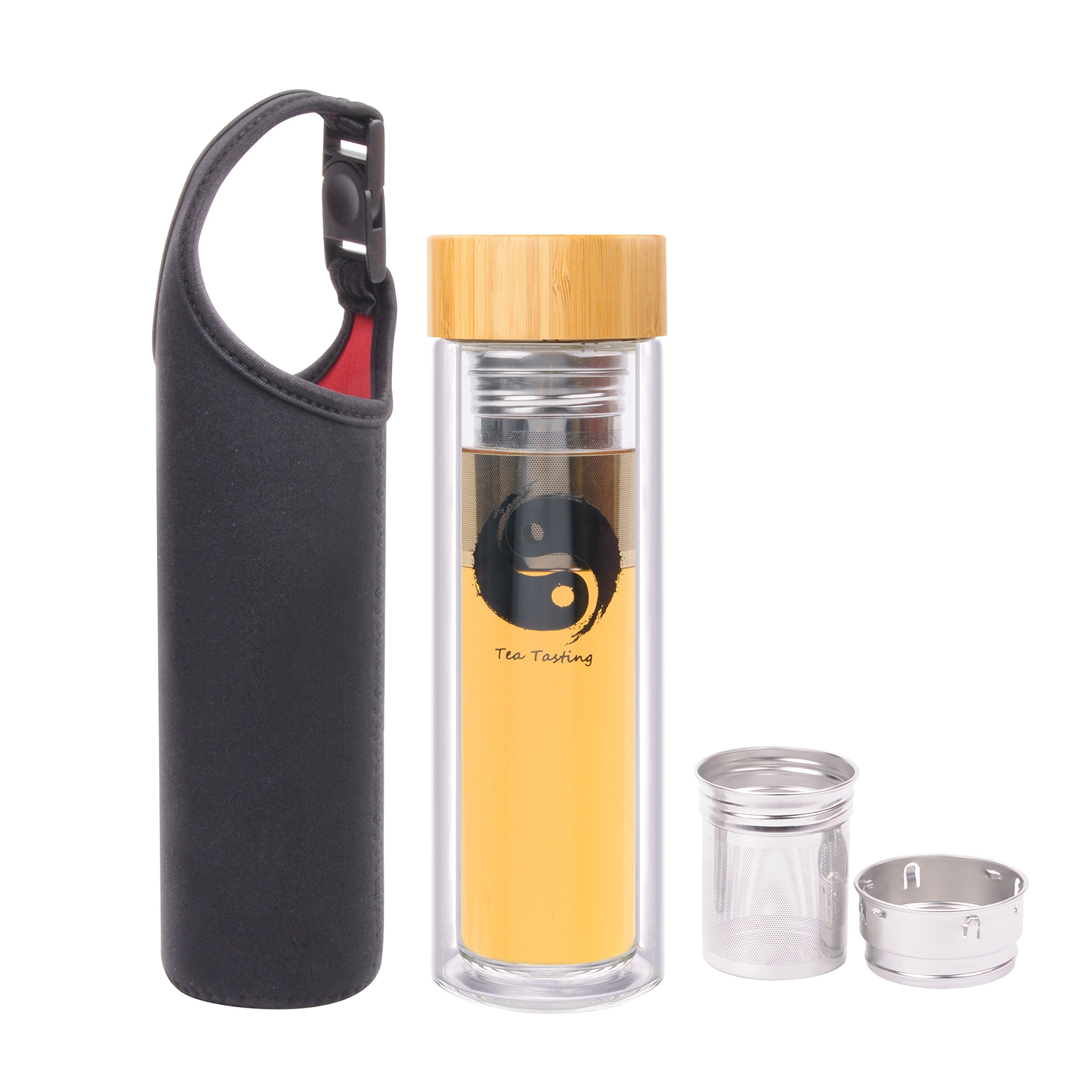Wotefusi Tea Tumbler Tai Chi Tea bottle Tea Infuser Water Glass Bottle Fruit Infusion Double Wall Heat Resistance with Strainer Filter Bamboo Cover for Outdoor Travel Office Hot&Cold Drink 15.8 Ounces