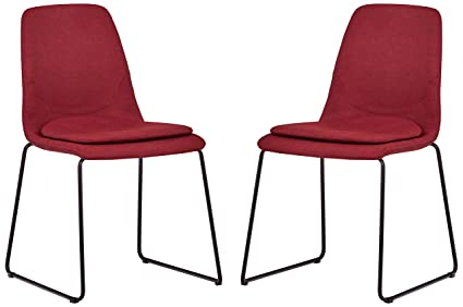Amazoncom Rivet Jamie Mid Century 2 Pack Removable Cushion Chairs