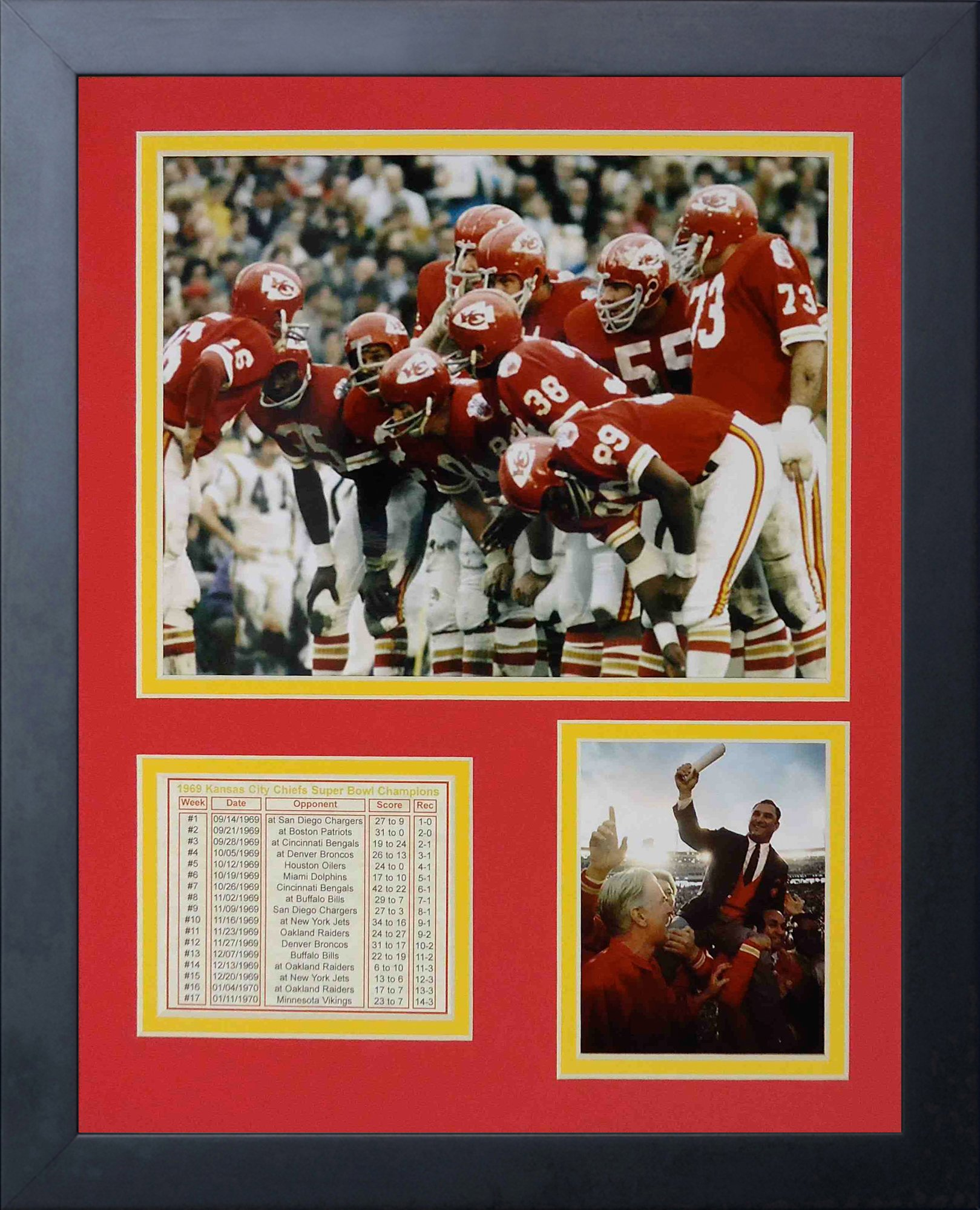 Legends Never Die 1969 Kansas City Chiefs Huddle Framed Photo Collage, 11 by 14-Inch