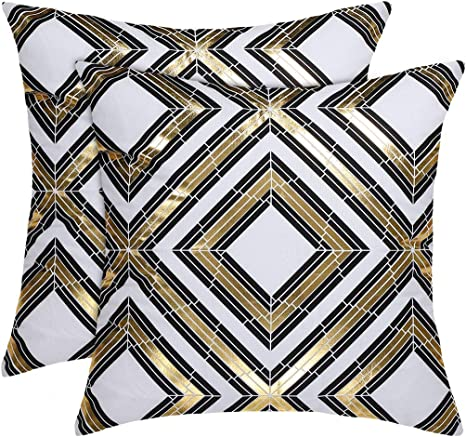 """Black with Golden Floral Detail CUSHION COVERS 45cm FILLED CUSHIONS 18x18/"""""""