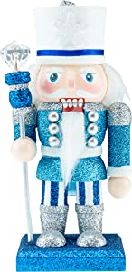 Clever Creations Wooden Chubby 6 Inch Nutcracker, Traditional Christmas Décor Perfect for Shelves and Tables, Glittery Blue & Silver King