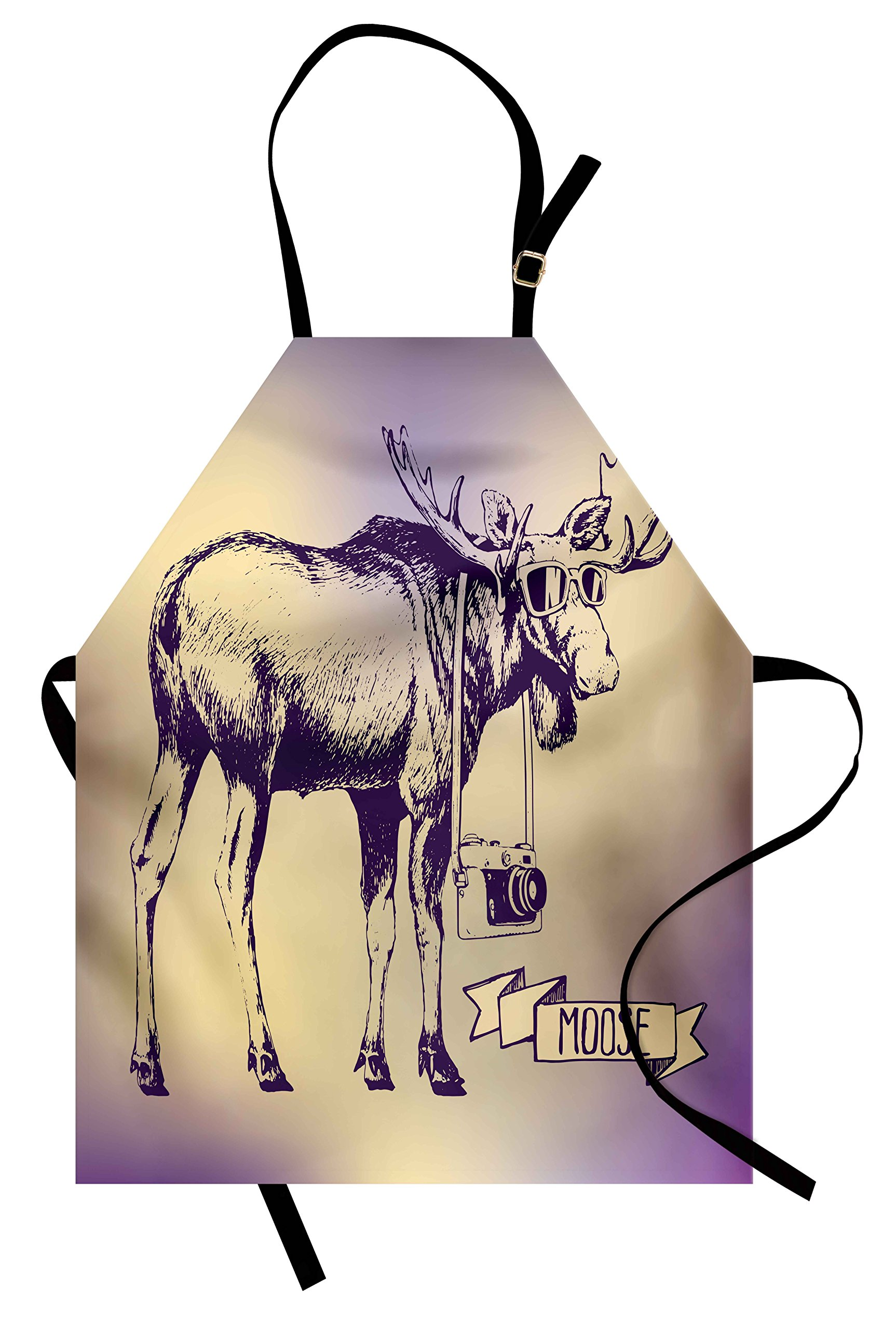 Ambesonne Moose Apron, Hipster Deer with Shade Sunglasses and Camera Vintage Ombre Design Funny Animal Art, Unisex Kitchen Bib Apron with Adjustable Neck for Cooking Baking Gardening, Purple Beige