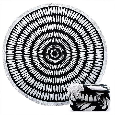 ANOLE Beach Towel Sheet Beach Blanket Indian Tassel Mandala Towel Camping Picnic Blanket Bath Towel Beach Shawl for Outdoor,Sand Beach,Girls,Boys,Kids,Men and Women 59 Inch Round Oversize Piano Keys