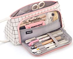 EASTHILL Large Capacity Colored Canvas Storage Pouch Marker Pen Pencil Case Simple Stationery Bag Holder For Middle High Scho