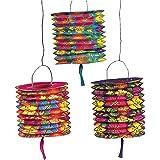 Fun Express - Set of Paper Hawaiian Luau Hibiscus Lanterns (1-Pack of 12)
