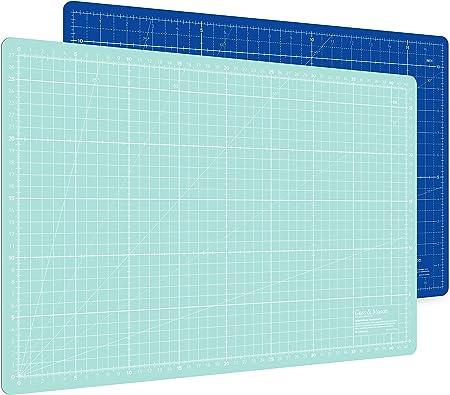 Alfombrilla de corte autorregenerable A3 en azul, rosa y verde. Perfecta para coser, manualidades y patchwork. Impresa por ambos lados 45 x 30 indicación en cm y pulgadas: Amazon.es: Hogar