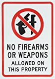 """SmartSign Adhesive Vinyl Label, Legend """"No Firearms or Weapons Allowed on this Property"""" with Graphic, 7"""" high x 5"""" wide, Black/Red on White"""