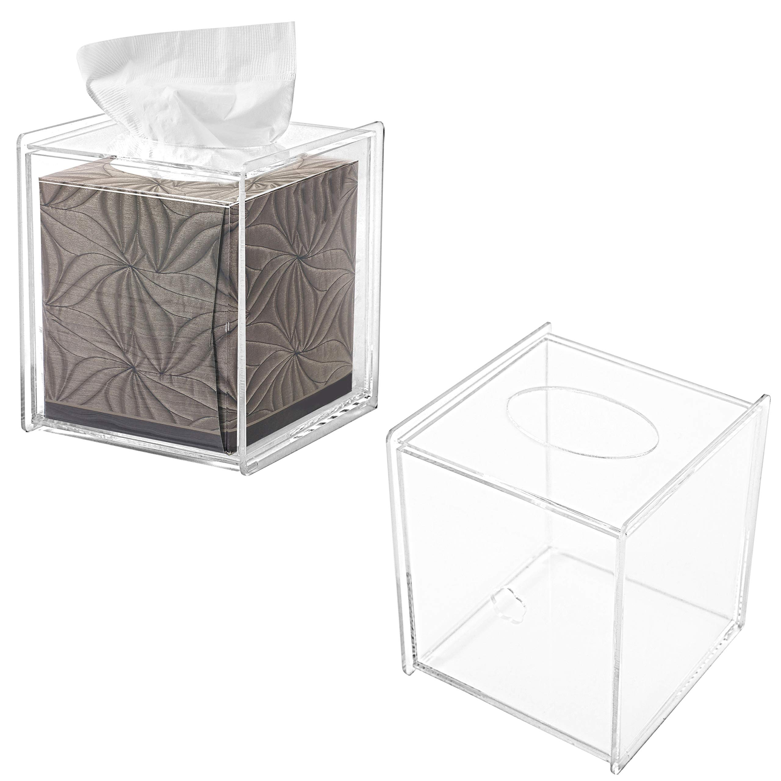 MyGift Clear Acrylic Square Tissue Box Covers, Set of 2