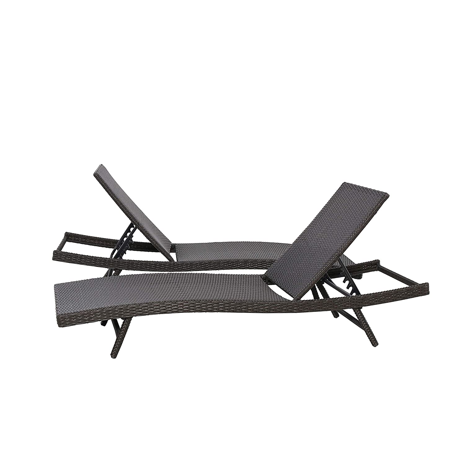 2-pack Dark Brown Basics All Weather Adjustable Outdoor Patio Pool Faux Wicker Chaise Lounge Chairs