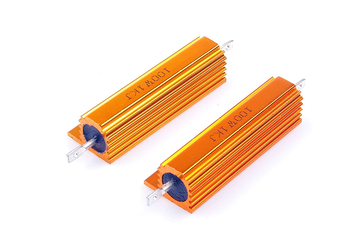 Servo Industry Industrial Control 2-Pcs LED lights,Frequency Divider LM YN 100 Watt 1K Ohm 5/% Wirewound Resistor Electronic Aluminium Shell Resistors Gold Suitable For Inverter