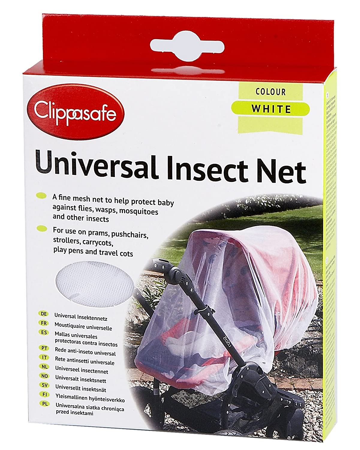 Clippasafe Pram & Pushchair Universal Insect Net (One Size, White) Clippasafe Ltd CL194 cot crib