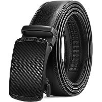 BOSTANTEN Men's Leather Ratchet Dress Belt with Automatic Sliding Buckle Black men