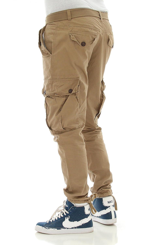 41460-05 MEN MENS CARGO LONG PANTS W//BELT PJ MARK BLACK