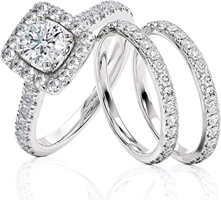 Stunning AAAAA Cr Diamond Solitaire Ring with Accents In  Sterling Silver