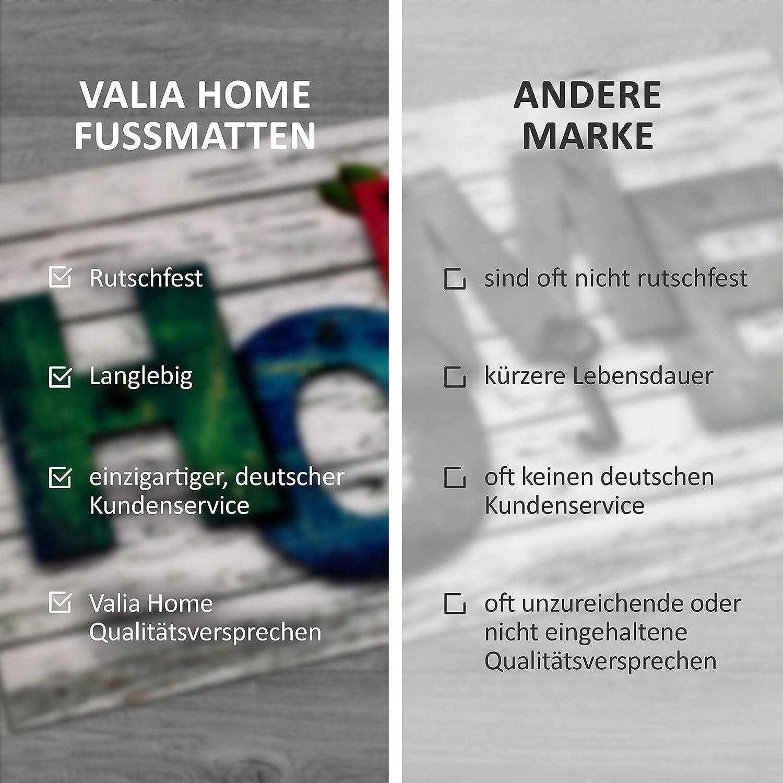 Home 3 Fussmatte Valia Home Fu/ßmatte 3 Designs Sauberlaufmatte rutschfest Fu/ßabtreter Haust/ür Home Design 40 x 60 cm Schmutzfangmatte T/ürmatte f/ür Innen und Aussen