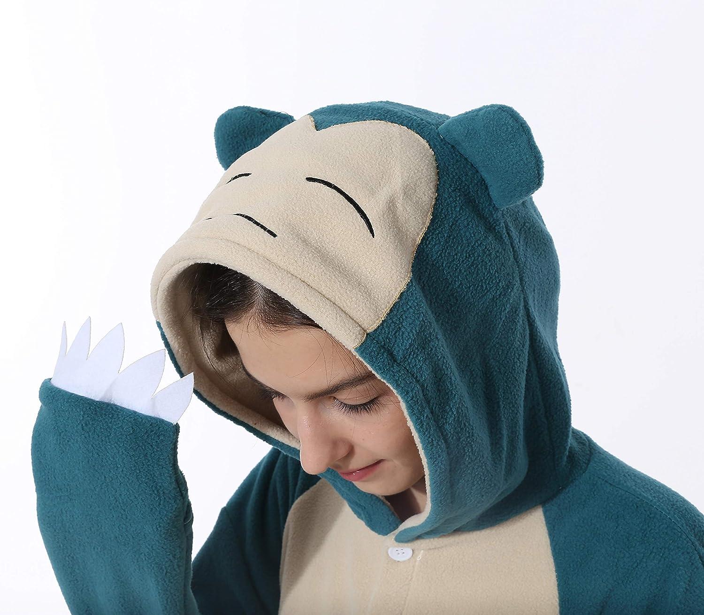 Snorlax Costume Adulte Pyjamas No/ël Animale V/êtements de Nuit Halloween Femmes Hommes Unisexe Cosplay Bleu S