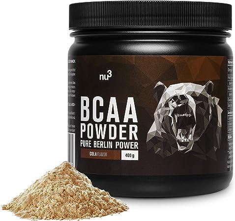nu3 BCAA en polvo - 40 porciones de aminoácidos ramificados - 400 g sabor chispeante cola - Proporción óptima de leucina, isoleucina y valina 2:1:1 - ...