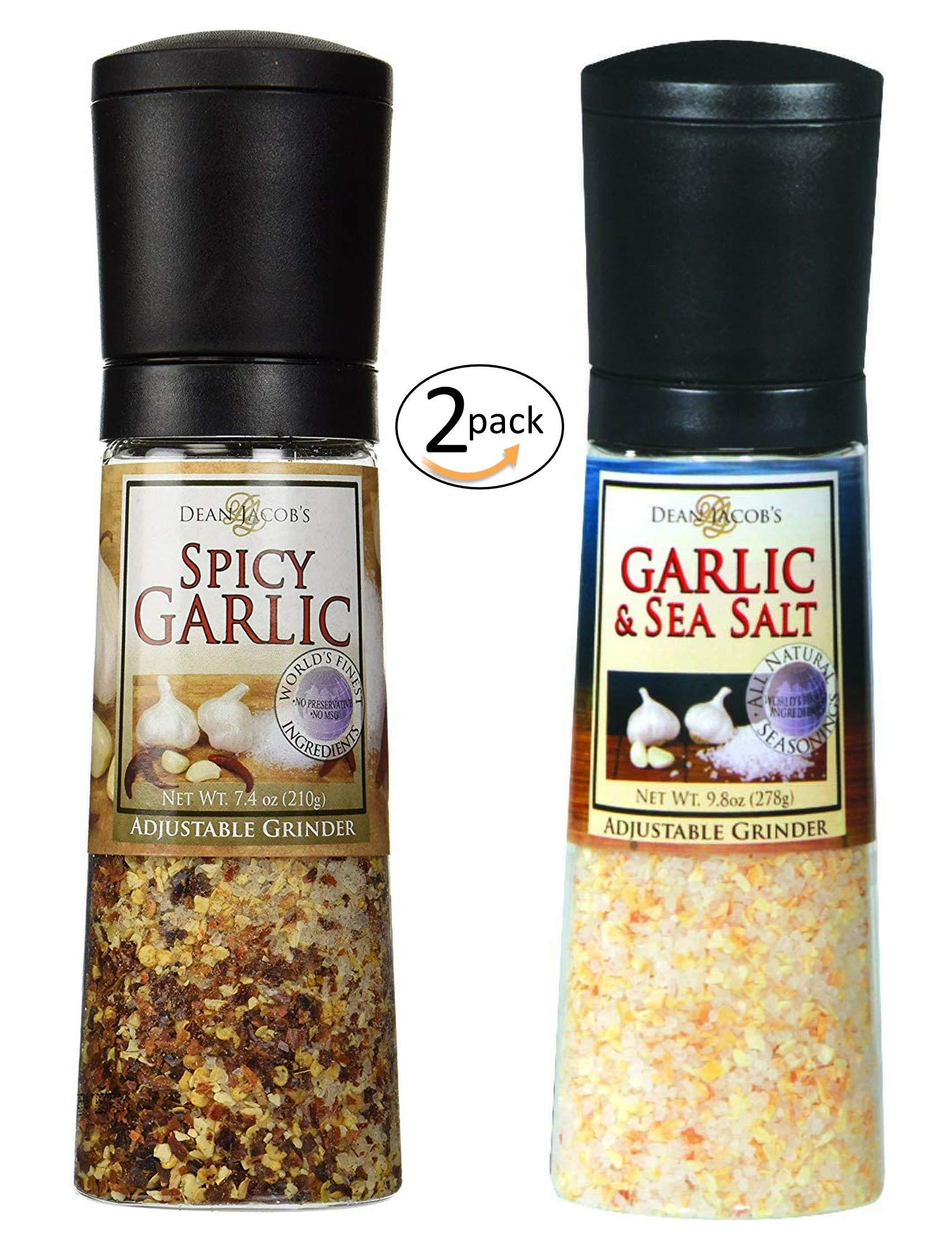 Spicy Garlic Jumbo Adjustable Grinder, 7.4oz - and - Garlic & Sea Salt Jumbo Adjustable Grinder, 9.8oz - 2 pack
