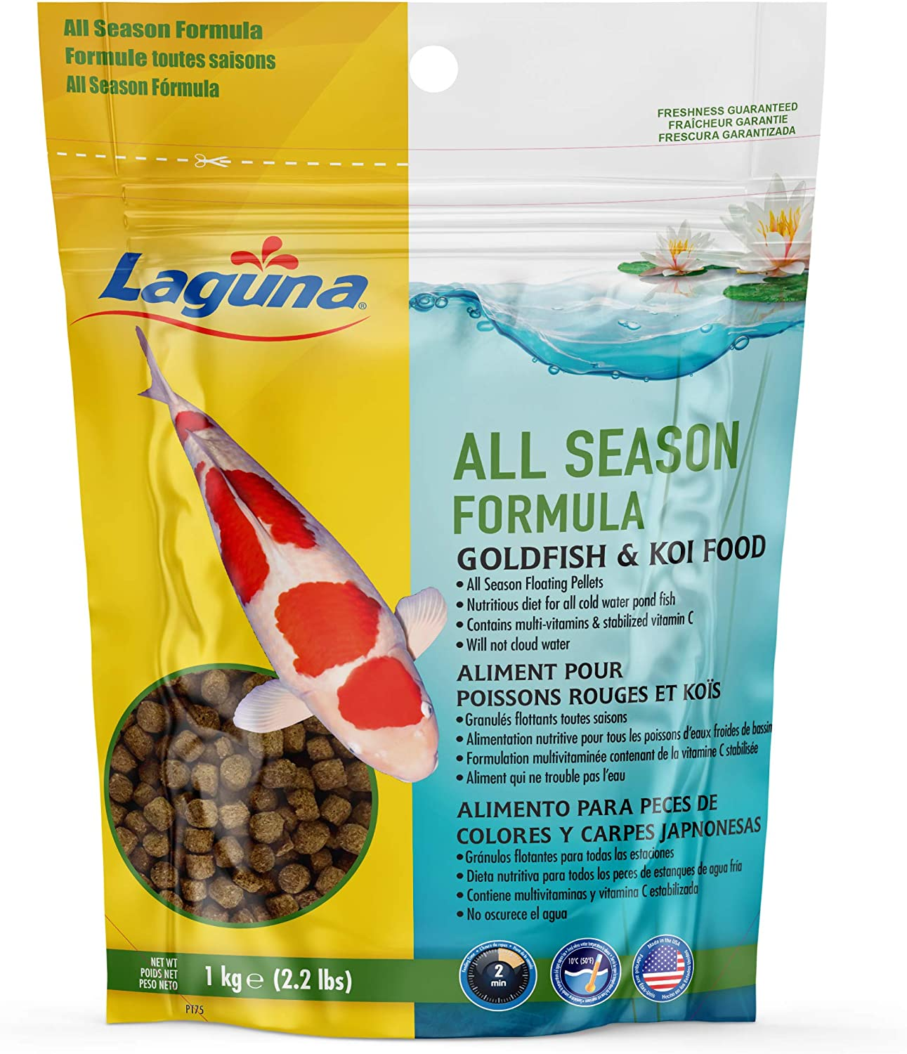 Laguna All Season Goldfish & Koi Floating Food, Pond Fish Food