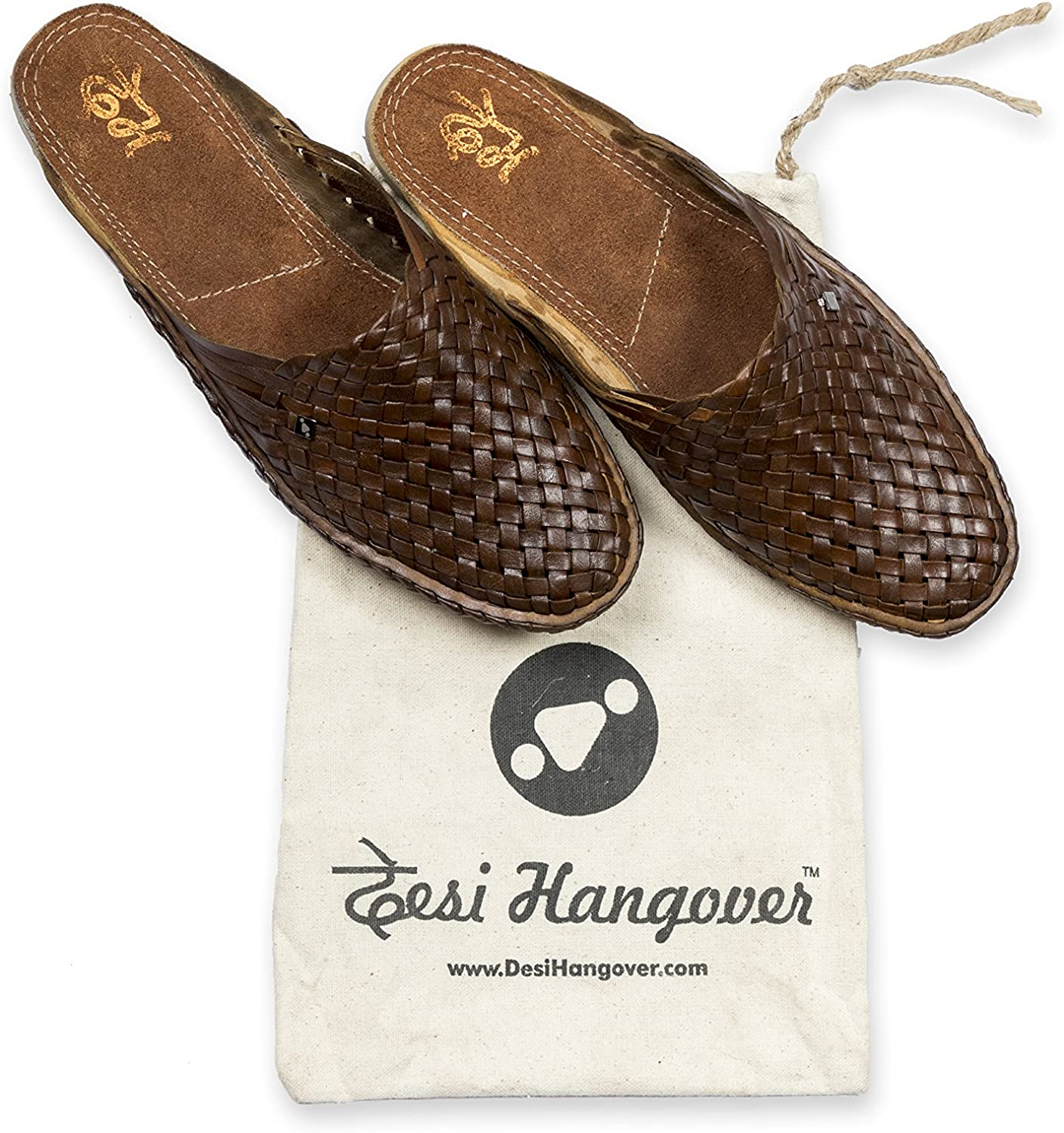 Desi Hangover Genuine Premium Leather Handmade Mens Casual Shoes Slip-on Loafers Daily Style Brown Oil Color
