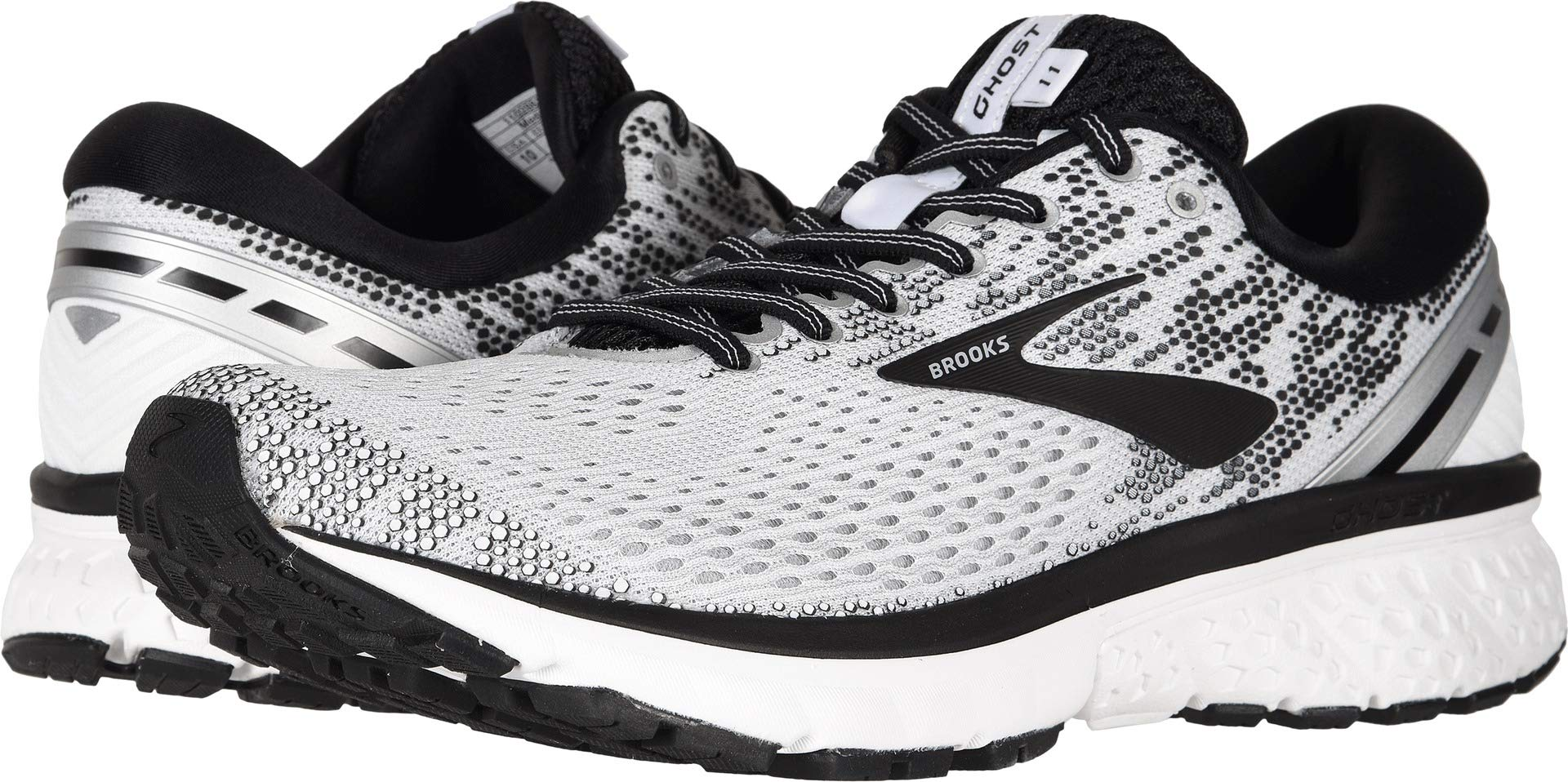 Brooks Men's Ghost 11 White/Black/White 12 D US D (M) by Brooks (Image #3)