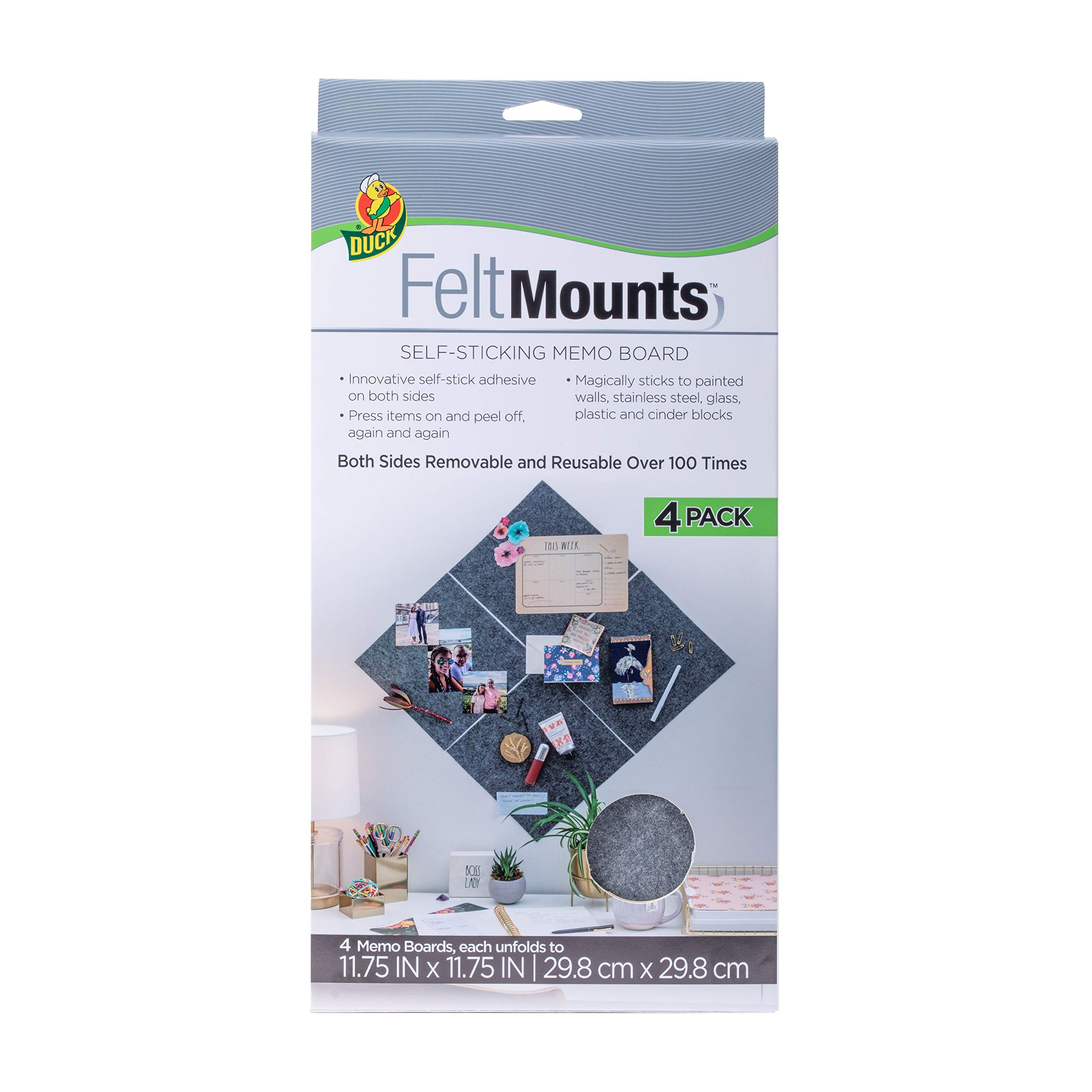 Duck Brand FeltMounts Sticky Memo Board, Reusable, Charcoal Gray, 11.75 x 11.75 Inches, 4-Pack by Duck Brand