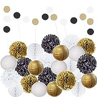 EpiqueOne 22 Piece Black Gold White Table & Wall Party Decorations Kit   Hanging Tissue Paper Pom Poms, Lanterns, Balls   Birthday Celebrations, Wedding, Graduation Decor