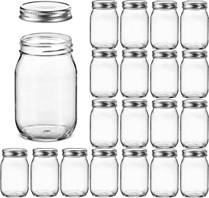 Glass Regular Mouth Mason Jars, 16 Ounce Glass Jars with Silver Metal Airtight Lids for Meal Prep, Food Storage, Canning, Drinking, Overnight Oats, Jelly, Dry Food, Spices, Salads, Yogurt (20 Pack)