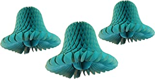 product image for Teal Green Honeycomb Tissue Bell Decorations, Set of 3 (15 inch, 11 inch, 9 inch)