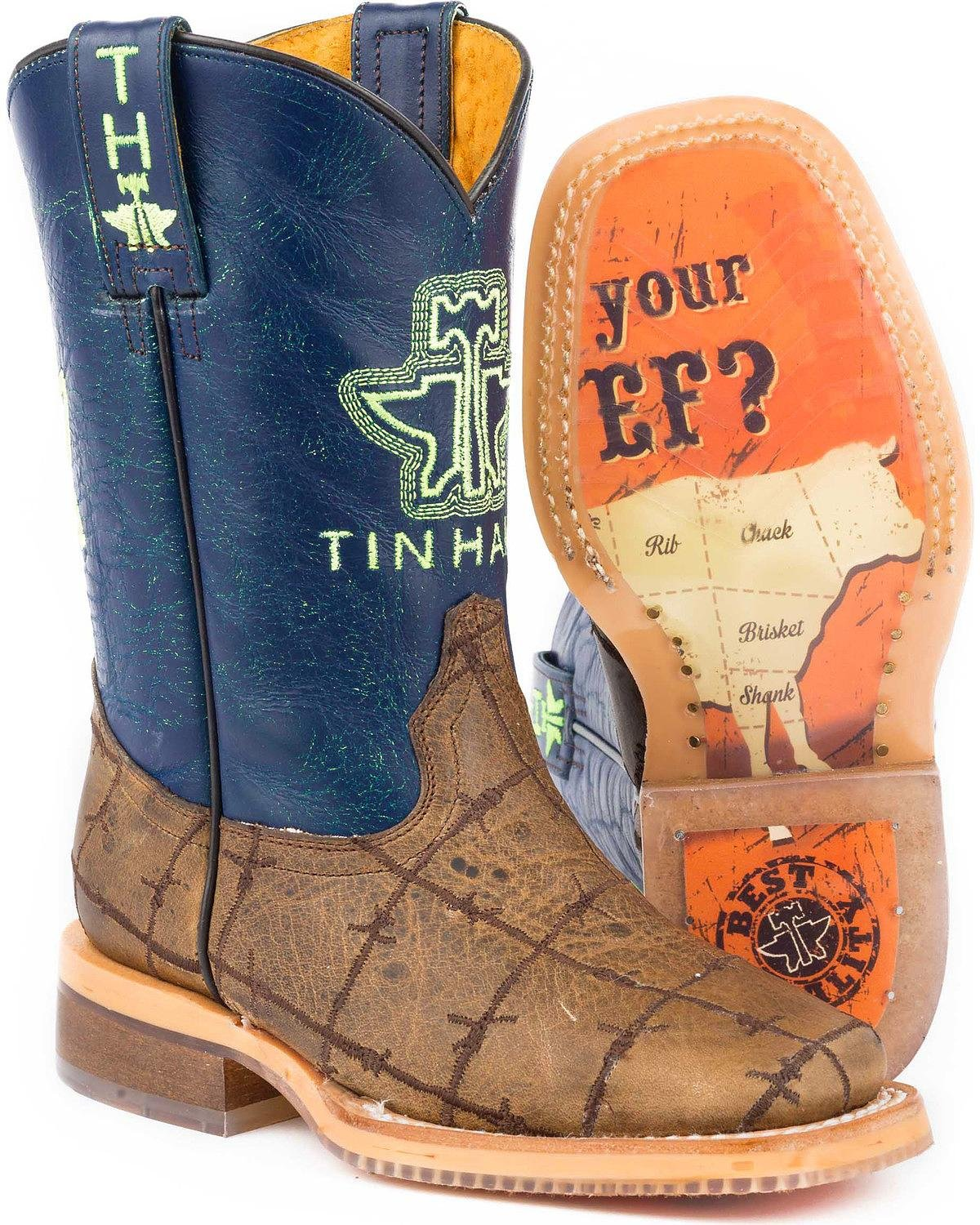 6f7756f9df6 Amazon.com: Tin Haul Boys' Barbed Wire All Beef Sole Cowboy Boot ...