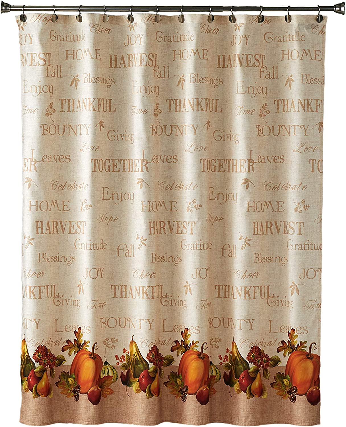 Harvest Pattern Shower Curtain Fabric Decor Set with Hooks 4 Sizes