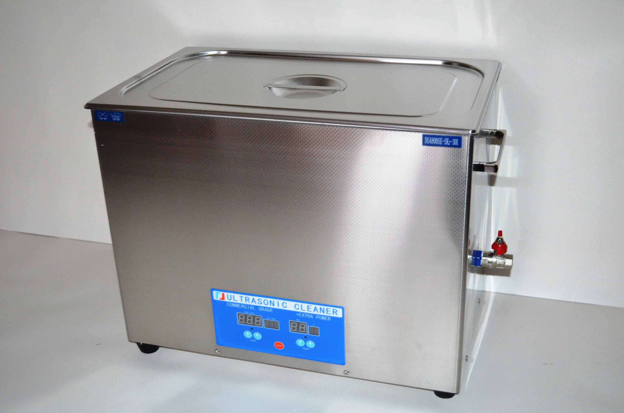 ''COMMERCIAL+ EXTRA POWER'' SERIES DSA800SE-SK2 30L (8 GAL) 1600 WATTS 40KHz DIGITAL HEATED INDUSTRIAL STAINLESS STEEL ULTRASONIC PARTS CLEANER MACHINE WITH INBOARD BASKET AND TOP COVER LID by Desen Precision Instruments Co (Image #4)