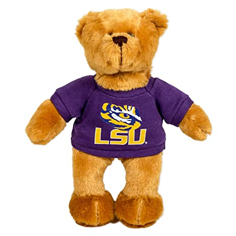 Amazon Com Lsu Tigers 8 Plush Hoodie Bear Purple Gold Sports