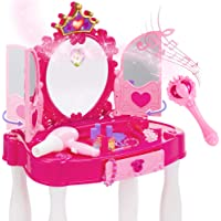 Best Choice Products Kids Vanity Mirror Set Pretend Play Girl Toy w/ Magic Wand Remote, Toy Hairdryer, Lights & Sounds…