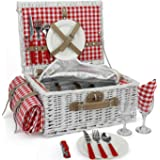 INNO STAGE Romantic Wicker Picnic Basket for 2 Persons, Special White Washed Willow Hamper Set with Big Insulated Cooler Comp